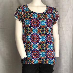 Francesca's Blue Rain Brand Kaleidoscope blouse